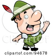 Royalty Free RF Clipart Illustration Of A Waving Oktoberfest Man With A Feather In His Hat