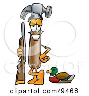Hammer Mascot Cartoon Character Duck Hunting Standing With A Rifle And Duck