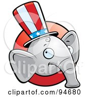 Royalty Free RF Clipart Illustration Of A Republican Elephant Face Over A Red Circle by Cory Thoman