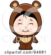 Royalty Free RF Clipart Illustration Of A Cute Asian Girl In A Bear Costume by Cory Thoman
