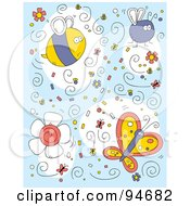 Royalty Free RF Clipart Illustration Of A Collage Of Bug Doodles