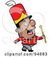 Royalty Free RF Clipart Illustration Of A Black Conductor In A Marching Band