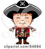 Royalty Free RF Clipart Illustration Of A Little Pirate Boy With His Arms At His Sides by Cory Thoman