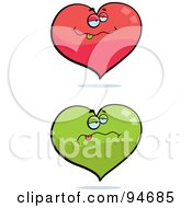 Royalty Free RF Clipart Illustration Of A Digital Collage Of Red And Green Drunk Hearts