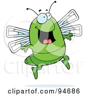 Royalty Free RF Clipart Illustration Of A Happy Jumping Green Dragonfly by Cory Thoman