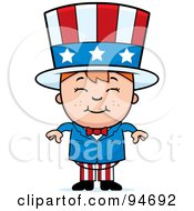 Royalty Free RF Clipart Illustration Of A Little American Boy In An Uncle Sam Costume by Cory Thoman