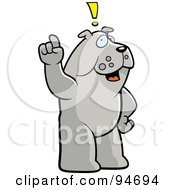 Royalty Free RF Clipart Illustration Of A Bulldog Exclaiming An Idea by Cory Thoman