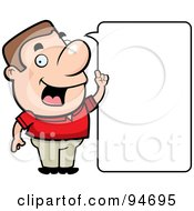 Royalty Free RF Clipart Illustration Of A Friendly Guy Stating An Idea With A Blank Word Box