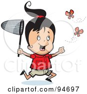 Royalty Free RF Clipart Illustration Of A Happy Girl Running And Chasing Butterflies With A Net by Cory Thoman