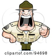 Royalty Free RF Clipart Illustration Of A Screaming Tough Drill Sergeant by Cory Thoman
