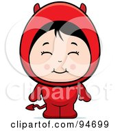 Royalty Free RF Clipart Illustration Of A Cute Little Asian Girl In A Devil Costume by Cory Thoman