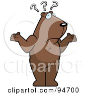 Royalty Free RF Clipart Illustration Of A Confused Groundhog Shrugging Under Question Marks by Cory Thoman