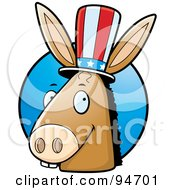 Democratic Donkey Head In Front Of A Blue Circle