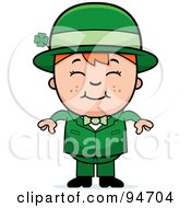 Cute Red Haired Leprechaun Kid In A Green Suit