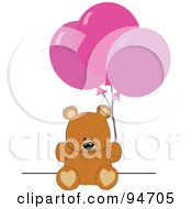 Royalty Free RF Clipart Illustration Of A Birthday Teddy Bear With Pink Party Balloons