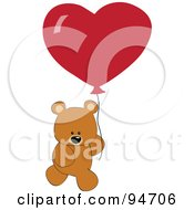 Royalty Free RF Clipart Illustration Of A Valentines Day Teddy Bear With A Red Heart Balloon