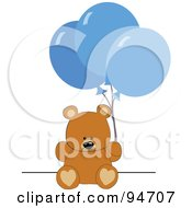 Royalty Free RF Clipart Illustration Of A Birthday Teddy Bear With Blue Party Balloons