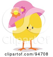 Royalty Free RF Clipart Illustration Of A Yellow Easter Chick Wearing A Pink Hat