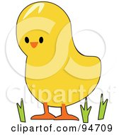 Royalty Free RF Clipart Illustration Of A Yellow Easter Chick In Grass