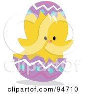 Royalty Free RF Clipart Illustration Of A Yellow Easter Chick In A Cracked Egg
