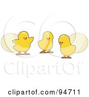 Royalty Free RF Clipart Illustration Of Three Easter Chicks With Eggs