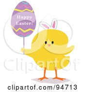 Royalty Free RF Clipart Illustration Of A Yellow Easter Chick Holding A Happy Easter Egg Sign
