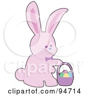 Royalty Free RF Clipart Illustration Of A Pink Easter Bunny With A Basket Of Eggs