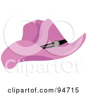 Royalty Free RF Clipart Illustration Of A Pink Cowgirl Hat With A Black Band by peachidesigns