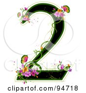 Black Number 2 Outlined In Green With Colorful Flowers And Butterflies