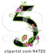 Royalty Free RF Clipart Illustration Of A Black Number 5 Outlined In Green With Colorful Flowers And Butterflies by BNP Design Studio