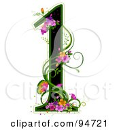 Black Number 1 Outlined In Green With Colorful Flowers And Butterflies