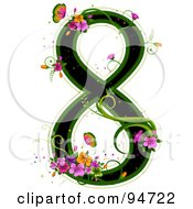 Black Number 8 Outlined In Green With Colorful Flowers And Butterflies