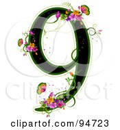 Black Number 9 Outlined In Green With Colorful Flowers And Butterflies