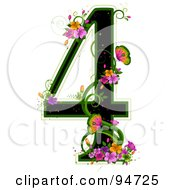 Black Number 4 Outlined In Green With Colorful Flowers And Butterflies