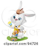 Royalty Free RF Clipart Illustration Of A White Hare Wearing An Apron And Painting Eggs For Easter by BNP Design Studio