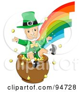 Royalty Free RF Clipart Illustration Of An Old Leprechaun Man Jumping In A Pot Of Gold At The End Of A Rainbow