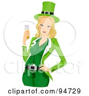 Royalty Free RF Clipart Illustration Of A Blond St Patricks Day Girl In Green Holding A Beer