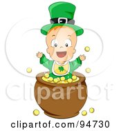 Royalty Free RF Clipart Illustration Of A Leprechaun Baby Playing In A Pot Of Gold