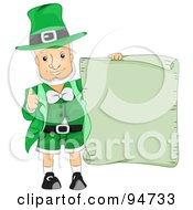 Old Leprechaun Man Holding Up A Blank Green Scroll Sign