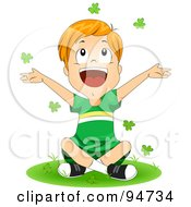 Royalty Free RF Clipart Illustration Of A Happy St Patricks Day Boy Sitting On Grass And Throwing Clovers Into The Air
