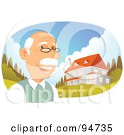 Royalty Free RF Clipart Illustration Of A Successful Senior Man Standing Near His Multi Story Home by Qiun
