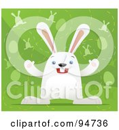 Royalty Free RF Clipart Illustration Of A White Easter Hair Over A Green Background With Eggs And Bunnies by Qiun