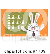 Royalty Free RF Clipart Illustration Of A White Hare Teaching A Math Class With Bunnies On A Chalk Board by Qiun