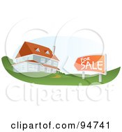 Royalty Free RF Clipart Illustration Of A Multi Story Home For Sale With An Orange Sign In The Yard by Qiun