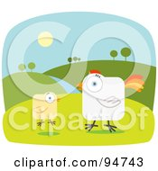 Royalty Free RF Clipart Illustration Of A Square Bodied Rooster And Chick On A Farm by Qiun