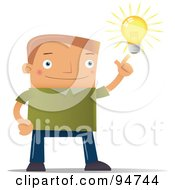 Royalty Free RF Clipart Illustration Of A Smart Blocky Guy With A Bright Idea by Qiun