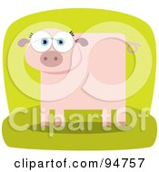 Royalty Free RF Clipart Illustration Of A Square Bodied Pink Pig by Qiun