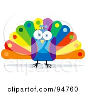 Royalty Free RF Clipart Illustration Of A Square Bodied Colorful Peacock by Qiun