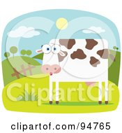 Royalty Free RF Clipart Illustration Of A Square Bodied Farm Cow In A Farm Pasture by Qiun