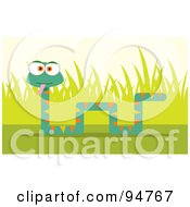 Royalty Free RF Clipart Illustration Of A Square Bodied Snake Near Grass